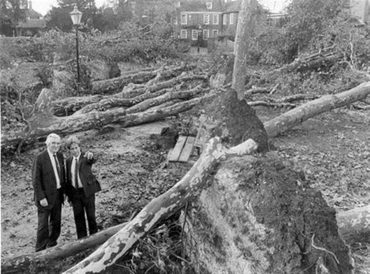 Inspectors survey the damage caused by the Great Storm
